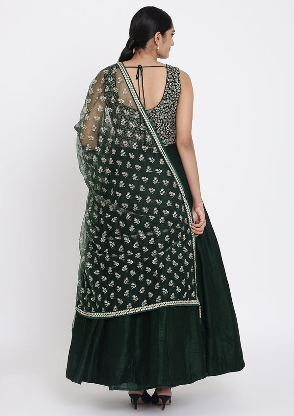 Bottle Green Zariwork Raw Silk Designer Gown