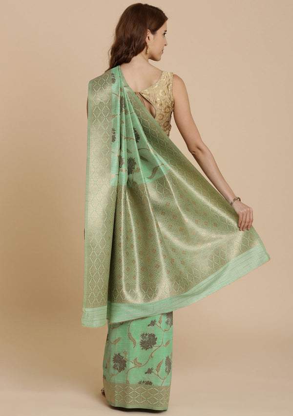Pista Green Zariwork Raw Silk Designer Saree