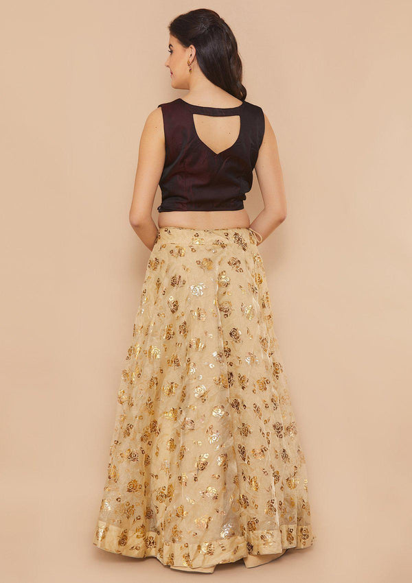 Gold and Maroon Mirrorwork Designer Lehenga