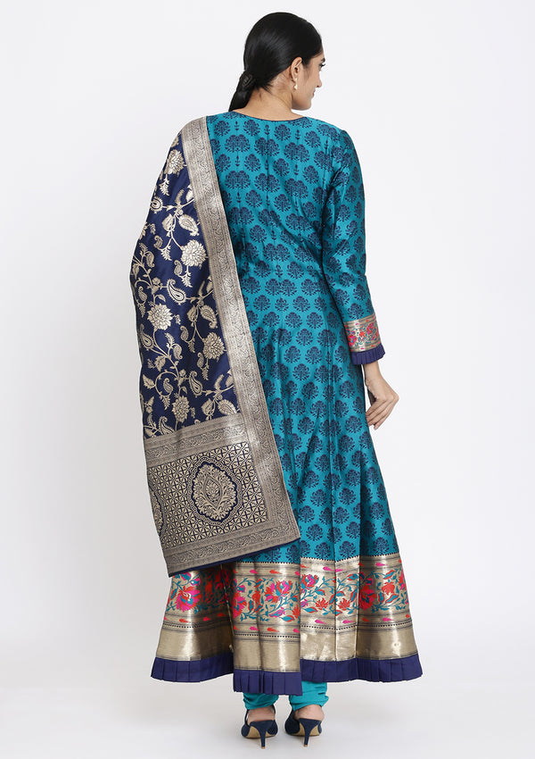 Peacock Green Zardosi Raw Silk Designer Gown