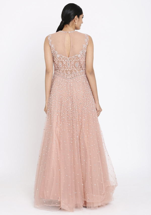 Onion Pink Pearlwork Net Designer Gown