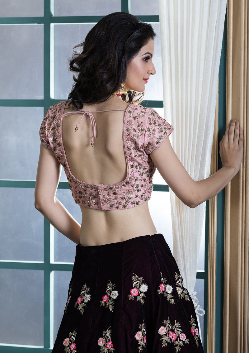 Wine Red Threadwork Velvet  Designer Lehenga