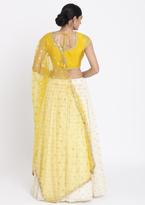 Cream And Yellow Zardosi Georgette Designer Lehenga