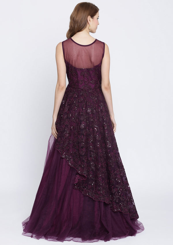 Wine Threadwork Net Designer Gown