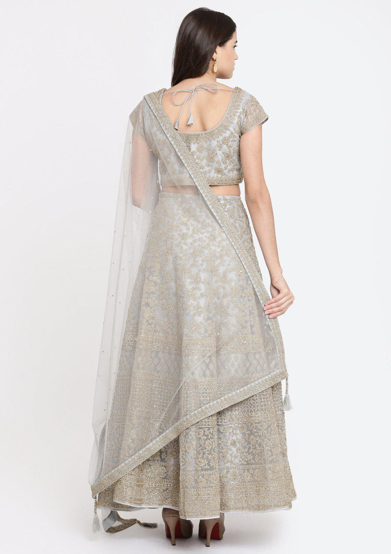 Light Grey Zariwork Net Designer Lehenga-Koskii