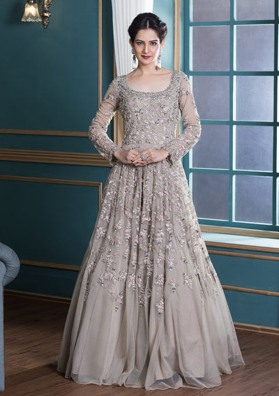 Beige Zardozi Work Net Evening Gown-Koskii