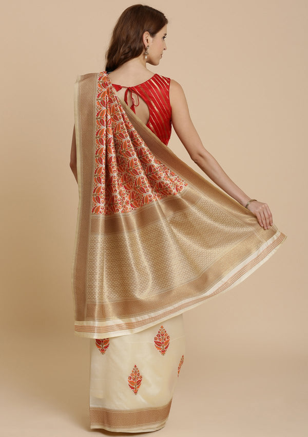 Red and Cream Thread Work Art Silk Designer Saree