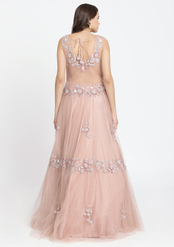 Mauve Sequinned Net Designer Gown-Koskii