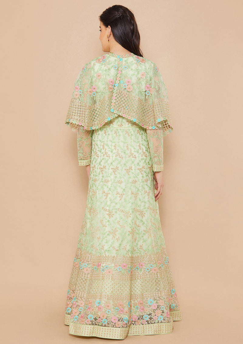 Pista Thread-Embroidered Net Designer Gown