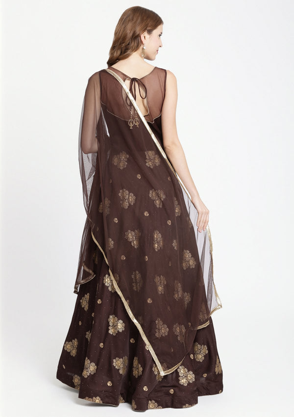 Brown Zariwork Silk Designer Gown-Koskii