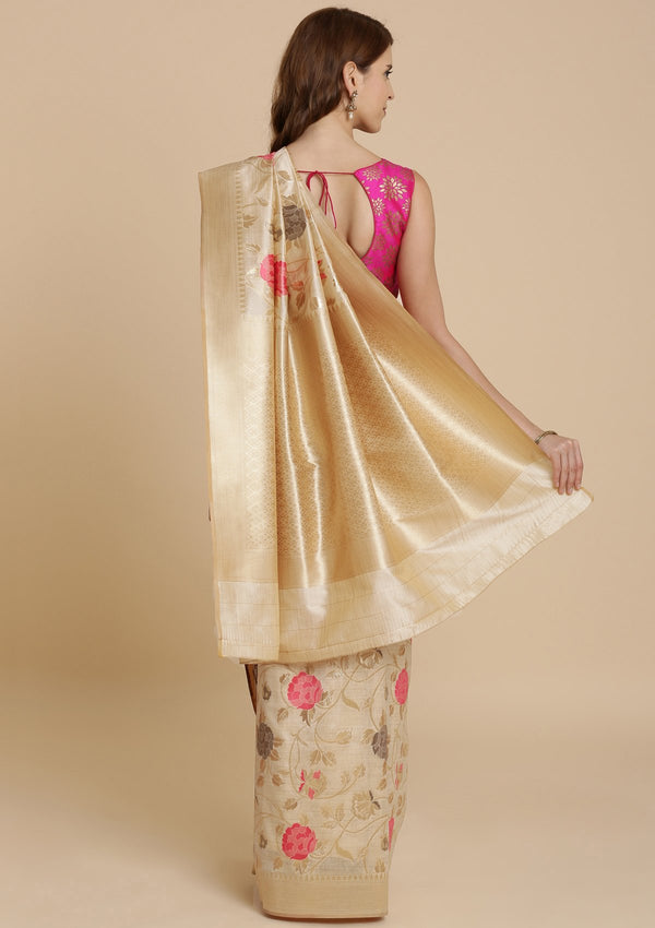 Cream Zariwork Raw Silk Designer Saree