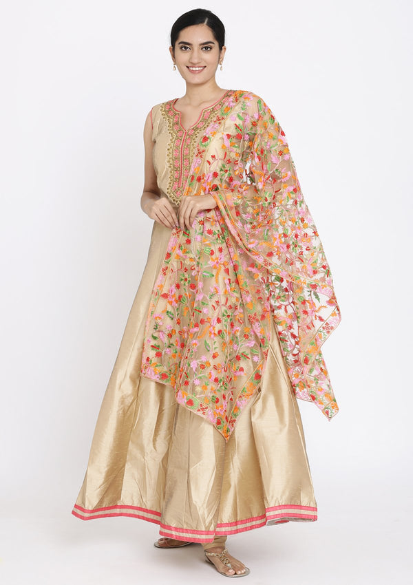 Gold Stonework Raw Silk Designer Gown
