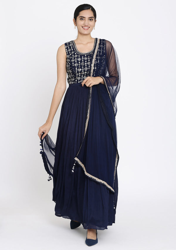 Navy Blue Mirrorwork Georgette Designer Gown