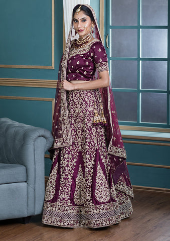 Wine Red Zardozi Work Satin Silk Designer Lehenga-Koskii