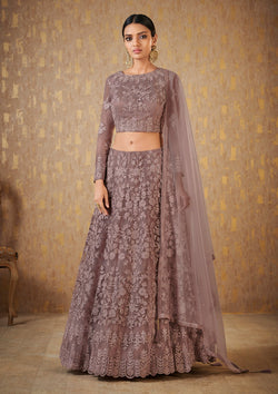 Dark Mauve Embroidered Net Designer Lehenga
