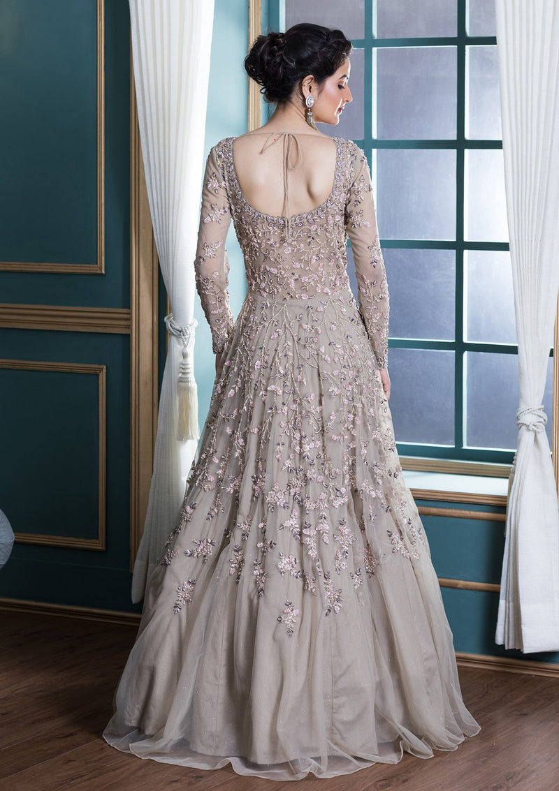 Beige Zardozi Work Net Evening Gown