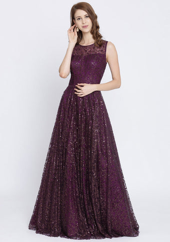 Wine Sequins Net Designer Gown-Koskii