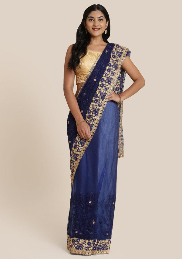 Navy Blue Pearlwork Net Designer Saree