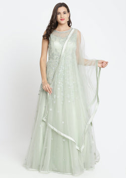 Pista Green Threadwork Net Designer Gown-Koskii