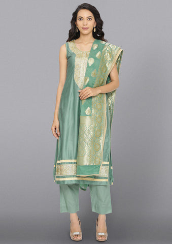 Sea Green Zariwork Cotton Designer Salwar Suit