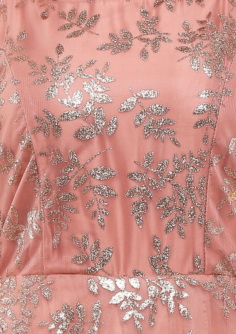 KOSKII DUSTY ROSE FLORAL PRINT LONG SLEEVE GOWN