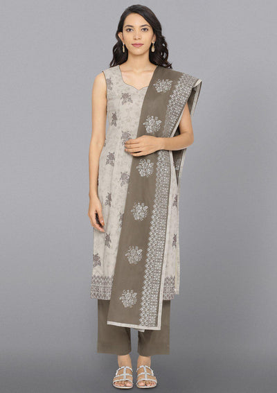Light Grey Threadwork Cotton Designer Salwar Suit-Koskii