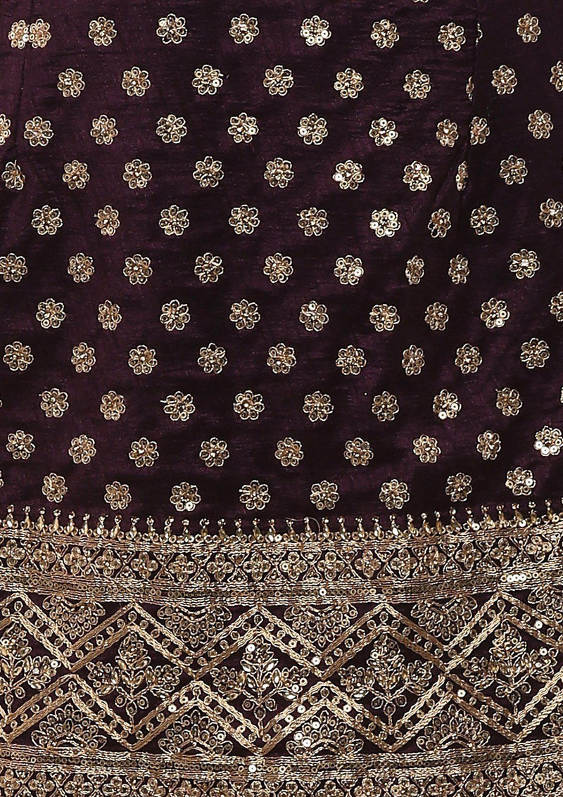 Wine And Beige Sequinned Designer Sharara