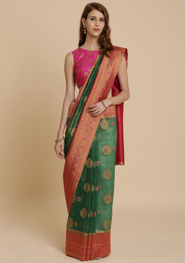 Leaf Green Art Silk Designer Saree