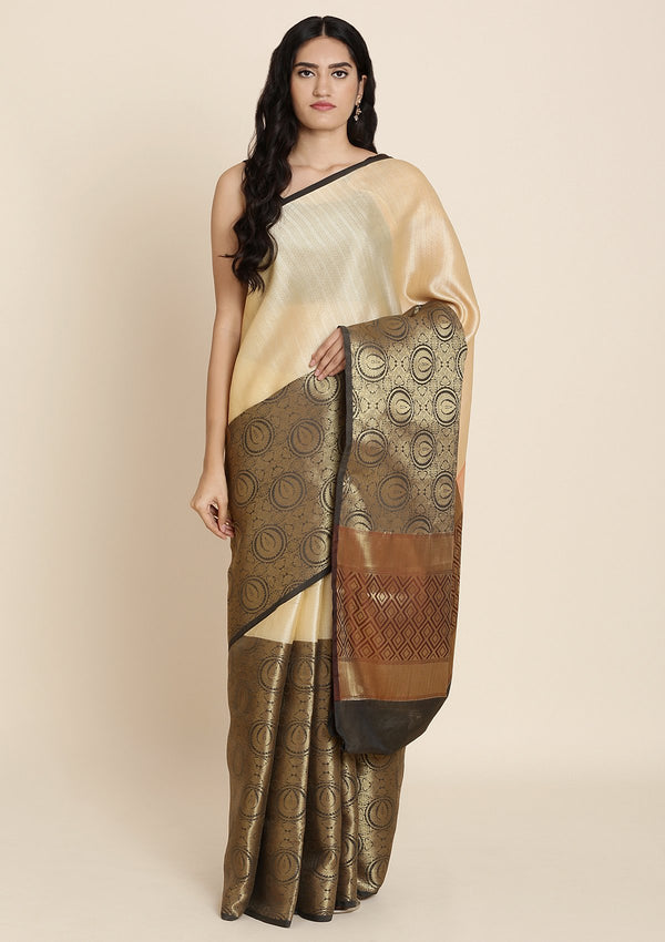 Gold Zariwork Art Silk Designer Saree