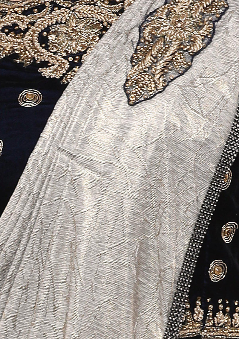 Blue and Grey Embellished Designer Saree