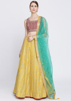 Yellow Sequins Rawsilk Designer Lehenga-Koskii