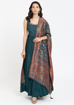 Peacock Green Mirrorwork Rawsilk Designer Gown-Koskii