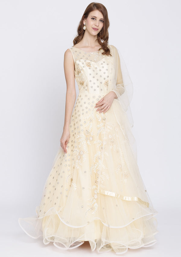 Peach Threadwork Net Designer Gown