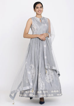 Light Grey Cutdana Satin Designer Gown