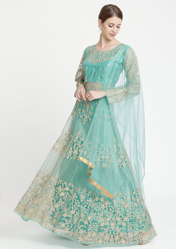 Sea Green Zariwork Net Designer Gown
