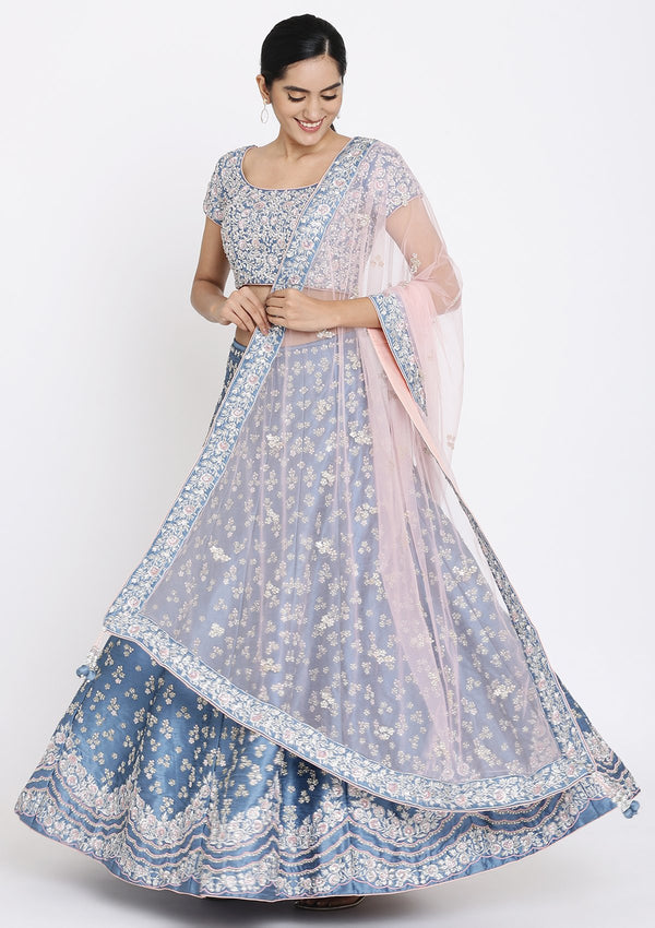 Light Grey Sequinned Raw Silk Designer Lehenga