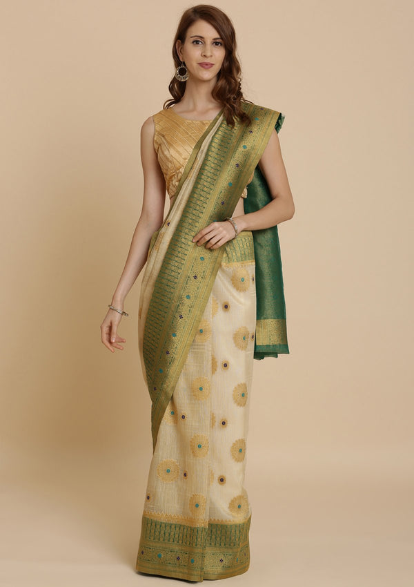 Cream Art Silk Designer Saree