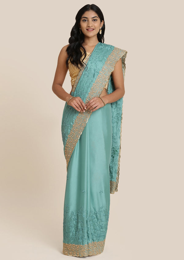 Sea Green Pearlwork Semi Crepe Designer Saree