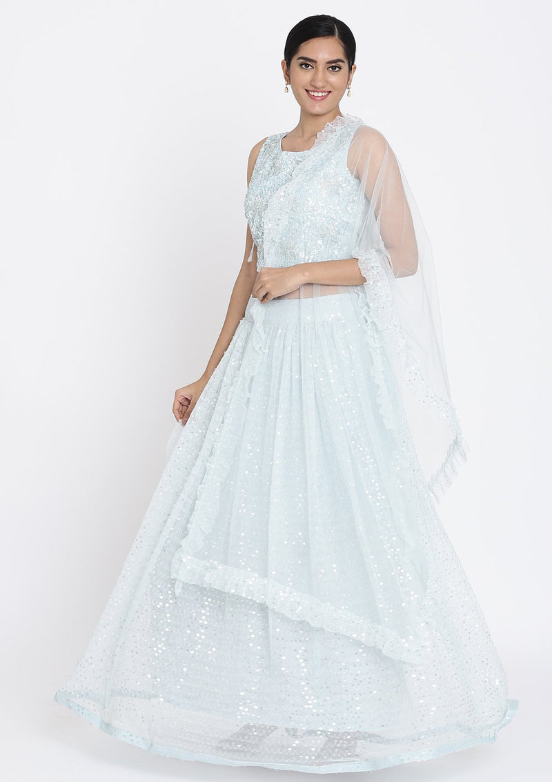 Sea-Green Sequins Net Designer Lehenga