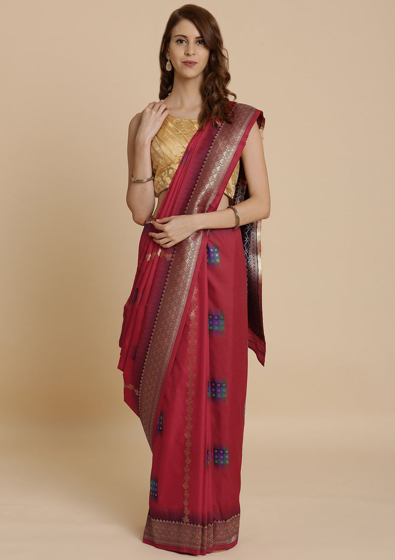 Red Zariwork Taffeta Silk Designer Saree