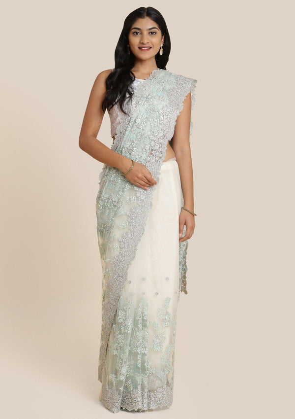 Sea Green Threadwork Net Designer Saree-Koskii