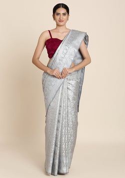 Light Grey Zariwork Tissue Designer Saree