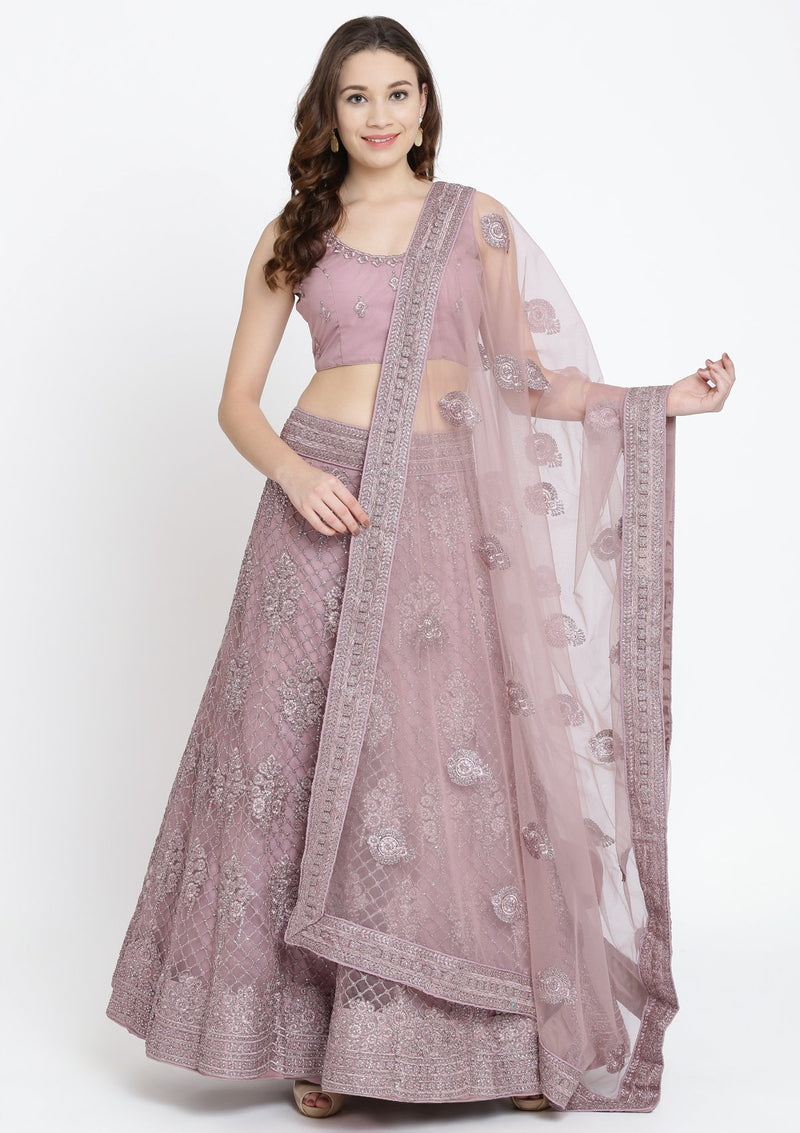 Lavender Threadwork Net Designer Lehenga