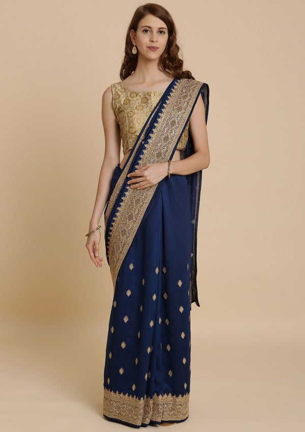Navy Blue Zariwork RawSilk Designer Saree