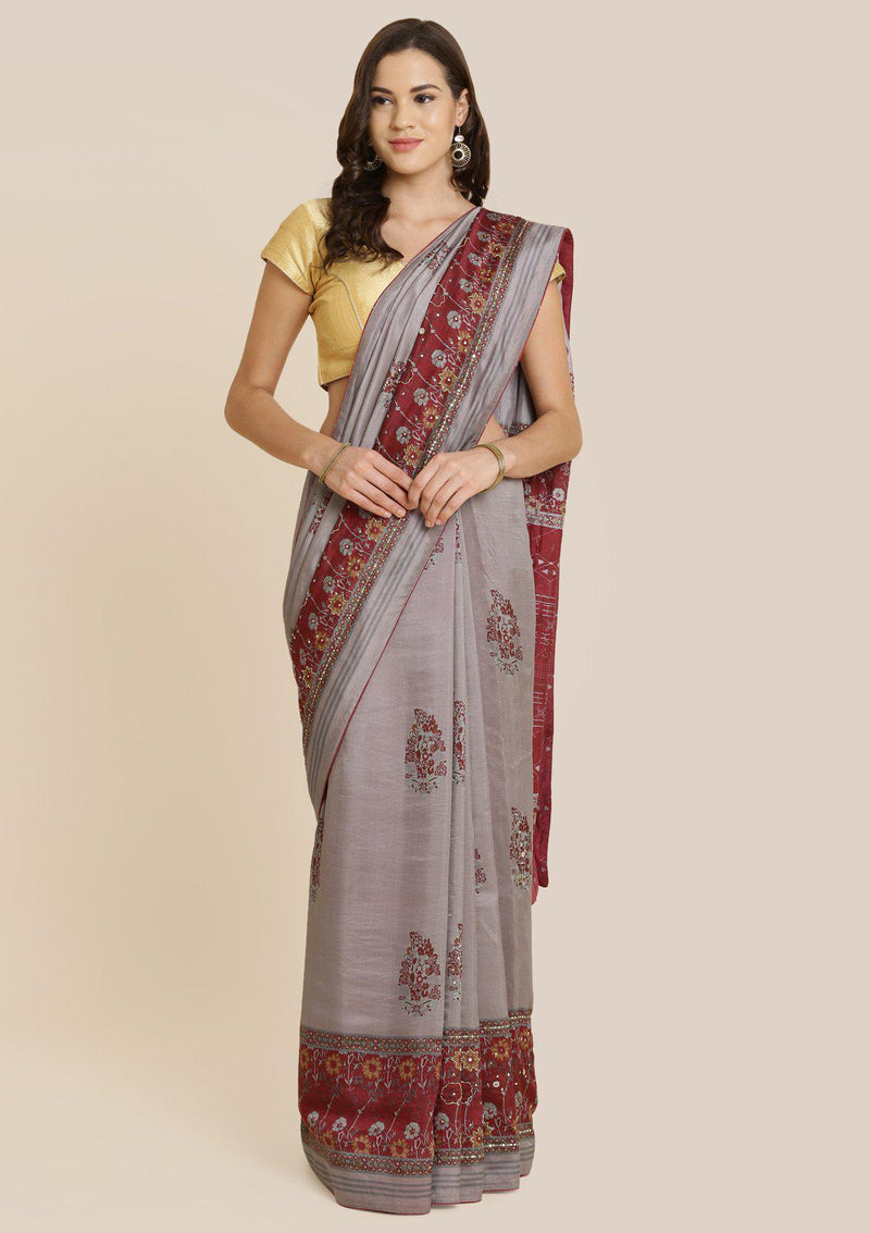 Smokey Grey Cutdana Art Silk Designer Saree-Koskii