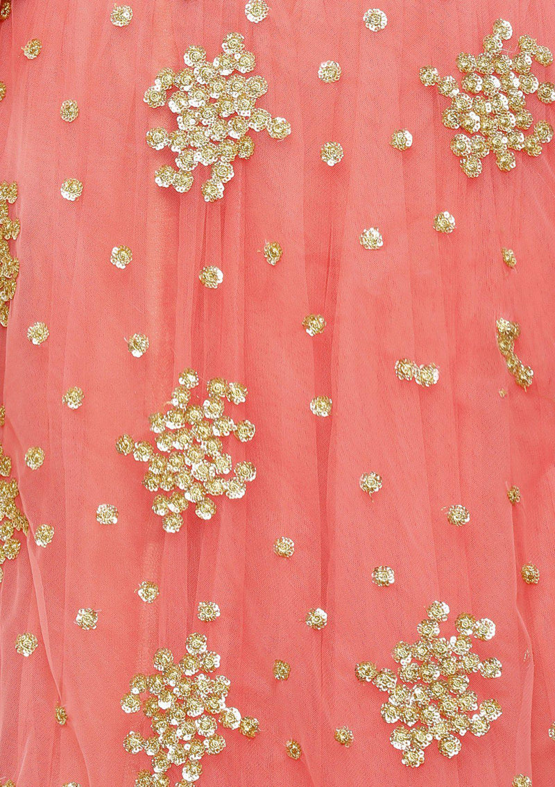 koskii pink and blue net lehenga