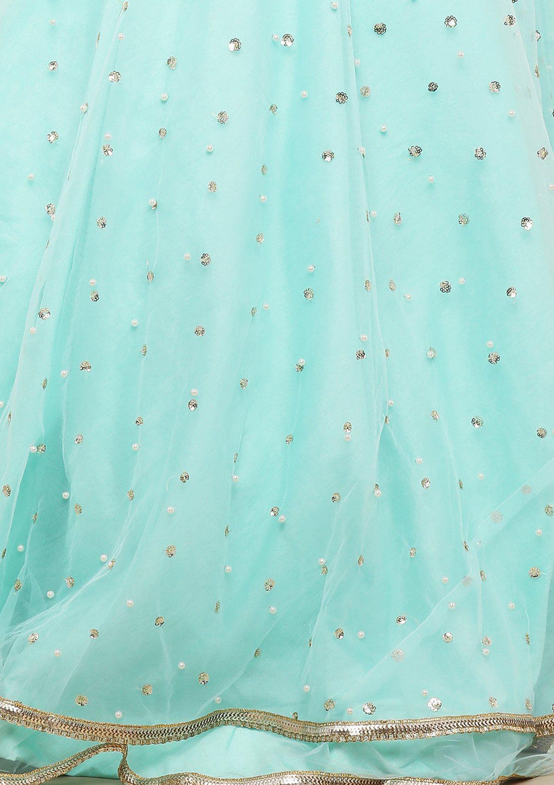 Sea Green Zardozi Floral Designer Gown