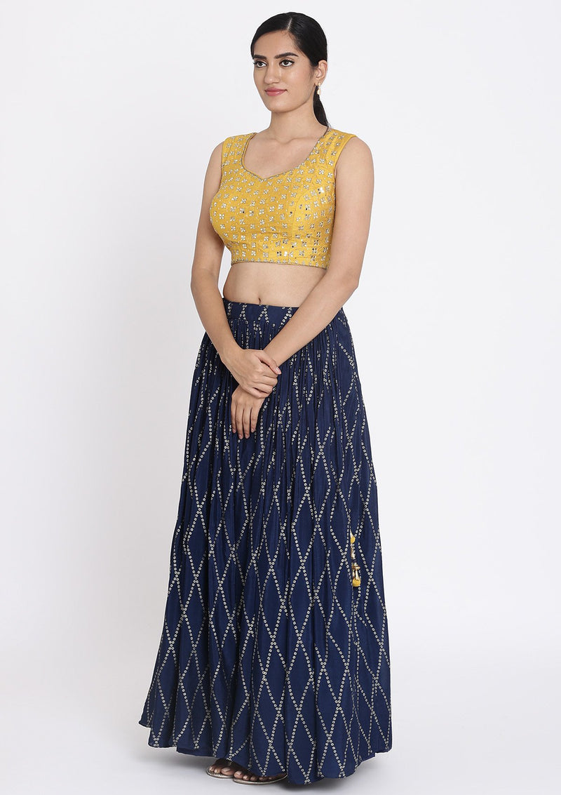 Navy-Blue And Yellow Mirrorwork Satin Designer Lehenga