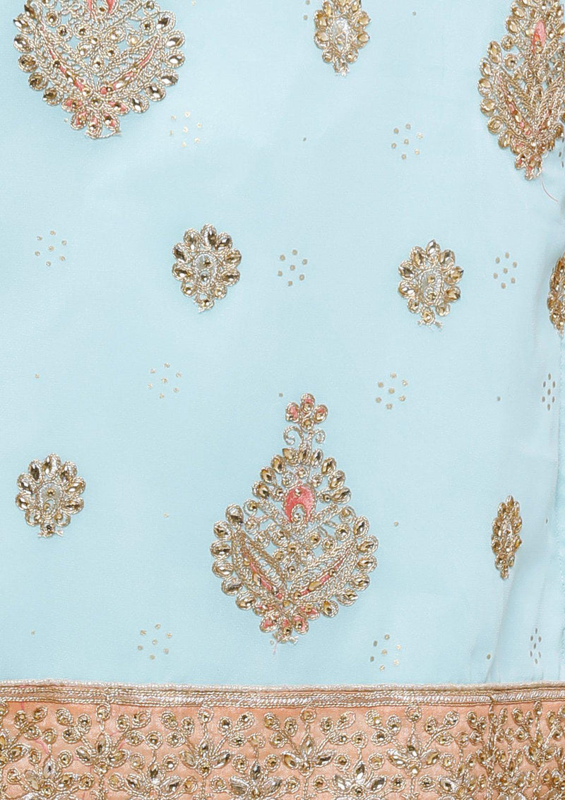 koskii peach and blue salwar suit