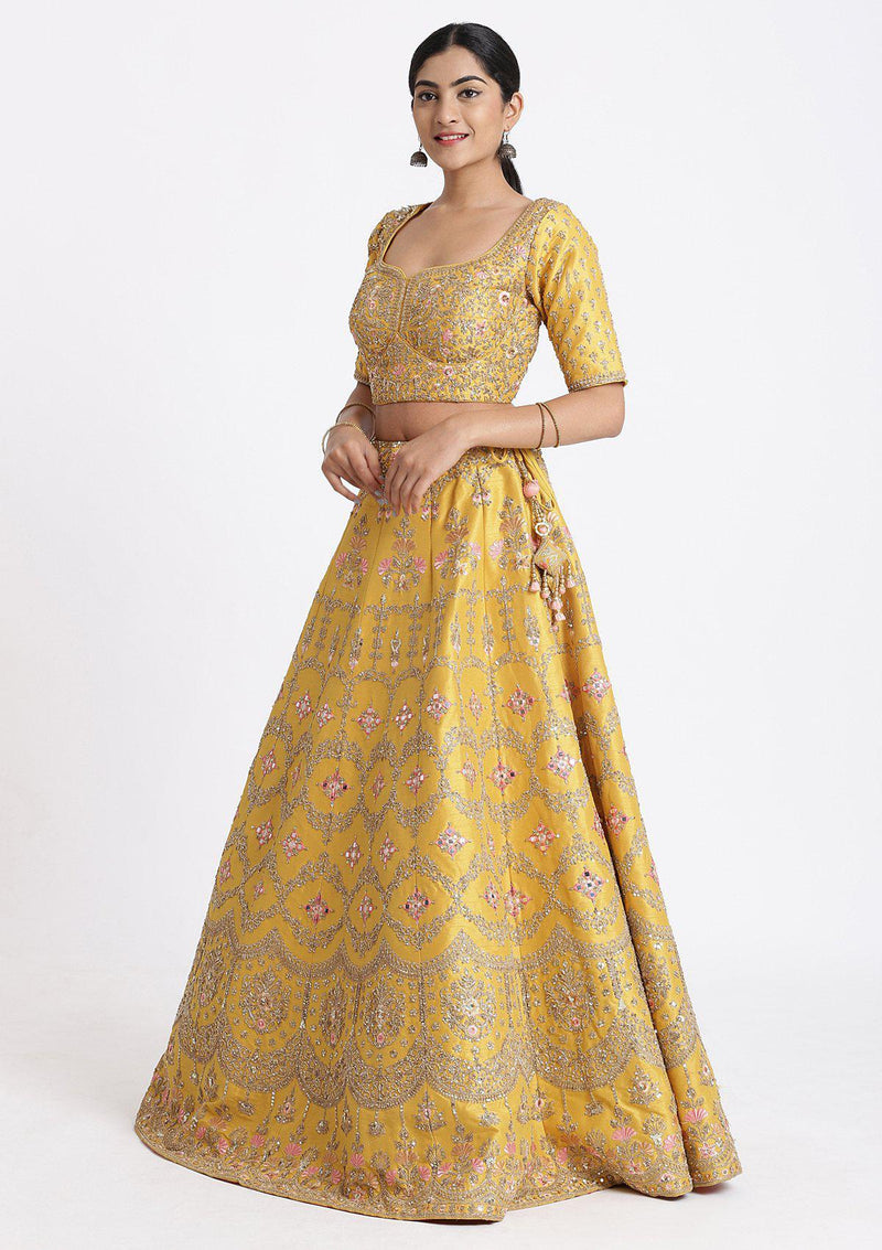 Yellow and Pink Sequinned Raw Silk Designer Lehenga